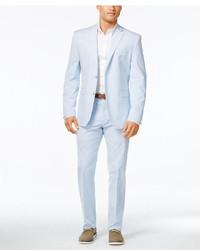 Portfolio slim fit light blue seersucker suit medium 760184
