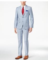 Ben Sherman Slim Fit Light Blue Shadow Plaid Suit