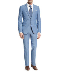 BOSS Textured Two Piece Suit Blue