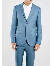 Topman Light Blue Textured Skinny Fit Suit Jacket
