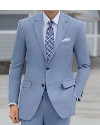 Tropical Blend Tailored Fit 2 Button Suit With Plain Front Trousers