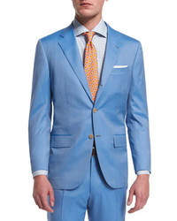 Kiton Two Piece Herringbone 170s Wool Suit Light Blue