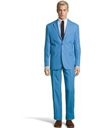 Saint Laurent Yves Light Blue Super 120s Wool 2 Button Suit With Flat Front Pants