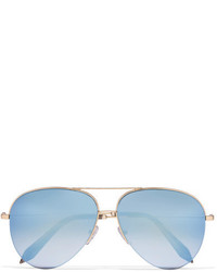 Victoria Beckham Aviator Style Gold Tone Mirrored Sunglasses Blue