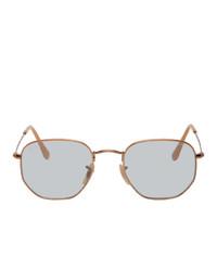 Ray-Ban Bronze And Blue Hexagonal Sunglasses