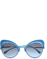 Fendi Butterfly Frame Metal Sunglasses Blue