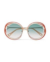 Chloé Carlina Oversized Round Frame Gold Tone Sunglasses