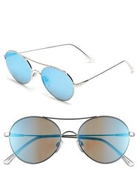 Electric Huxley 53mm Round Sunglasses Platinum Grey Blue Chrome