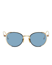 Thom Browne Gold And Navy Tb 106 Sunglasses