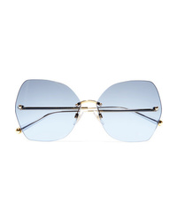Dolce & Gabbana Hexagon Frame Gold Tone And Acetate Mirrored Sunglasses