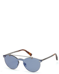 Ermenegildo Zegna Rimless Double Bar Round Sunglasses Bluehavana