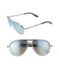 Tom Ford Marko Metal Aviator Sunglasses Shiny Light Ruthenium One Size