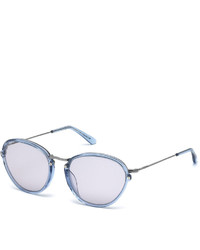 Tod's Transparent Round Plasticmetal Combo Sunglasses Shiny Light Bluesmoke
