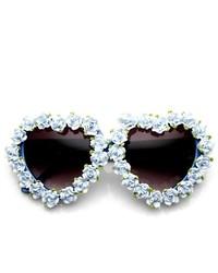 ZeroUV Flower Adorned Heart Shape Oversize Sunglasses