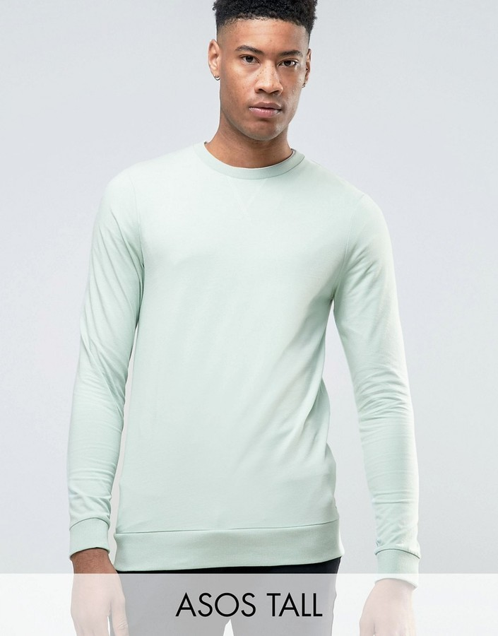a7a46b9e Asos Tall Lightweight Muscle Fit Sweatshirt In Blue, $14 | Asos ...