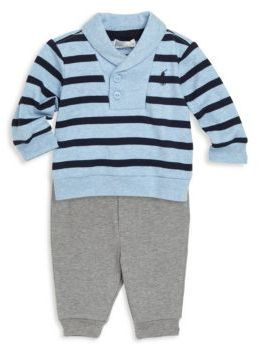 Ralph Lauren Babys Two Piece Striped Pullover Jogger Pants Set