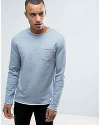 Esprit Crew Neck Sweatshirt With Raw Edges And Chest Pocket