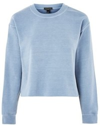 Topshop Crop Overdyed Raw Edge Sweatshirt