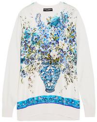 Dolce & Gabbana Printed Silk Satin And Knitted Silk Sweatshirt Blue