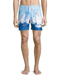 Orlebar Brown Bulldog Sailboat Race Swim Trunks Medium Blue