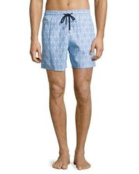 Vilebrequin Moorea Diamond Seahorse Swim Trunks Sky