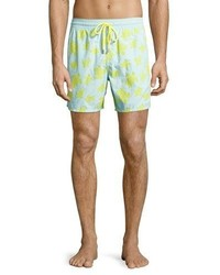 Vilebrequin Moorea Flocked Turtle Swim Trunks Blue