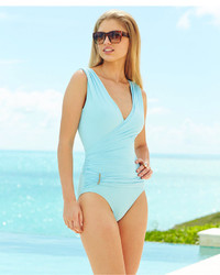 Vince Camuto Surplice Neck Ruched One Piece Swimsuit
