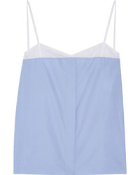 Nina Ricci Cotton Poplin And Mesh Camisole Light Blue
