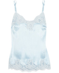Dolce & Gabbana Lace Trimmed Stretch Silk Satin Camisole Sky Blue