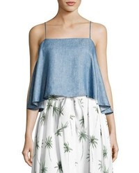 Milly Laurel Linen Chambray Flyaway Back Tank