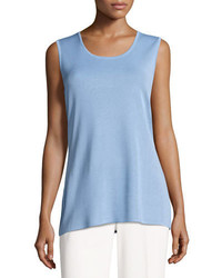 Misook Round Neck Soft Tank Blue Opal Plus Size
