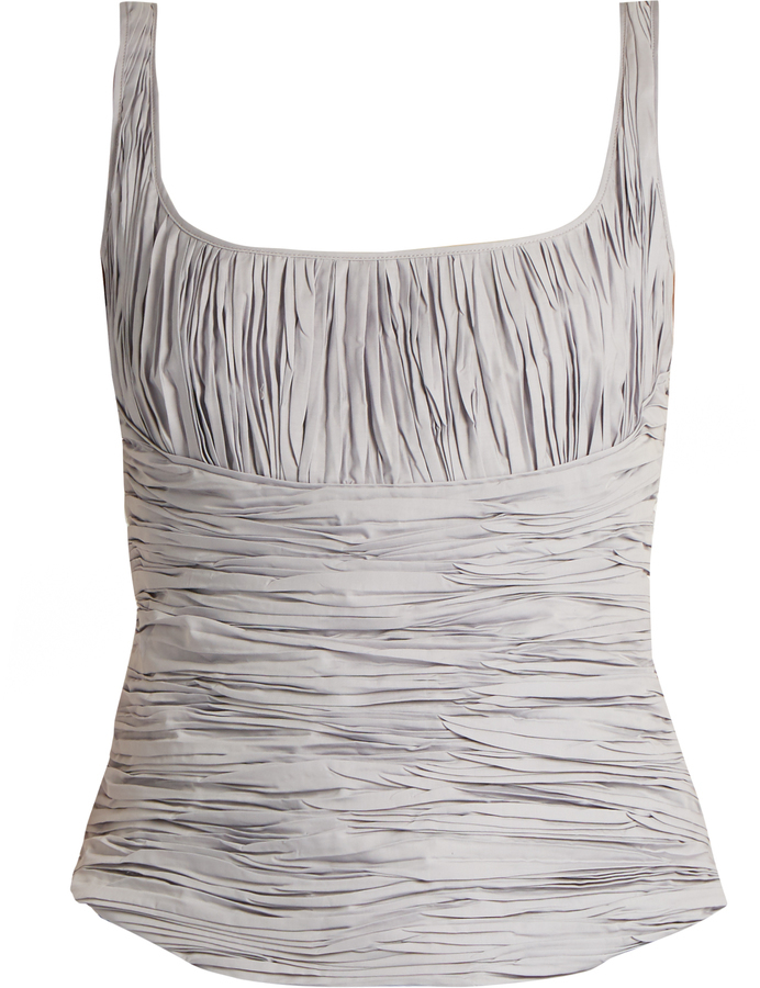 Brock Collection Tala Ruched Cotton And Silk Blend Tank Top