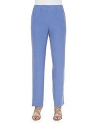 Solid silk pants blue plus size medium 3640548
