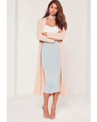Missguided Textured Slinky Midi Skirt Blue