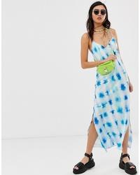 ASOS DESIGN Satin Cami Maxi Slip Dress In Tie Dye Print