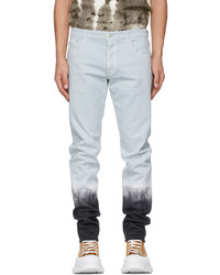 Alexander McQueen Blue Black Denim Dip Dye Washed Jeans