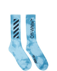 Off-White Blue Tie Dye Diag Socks
