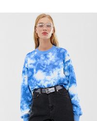 Monki Sweatshirt In Blue Tie Dye