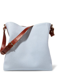Lanvin New Hobo Leather Trimmed Cotton Canvas Tote One Size