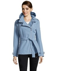 Dusty shale water resistant asymmetrical zip front hooded trench medium 458094