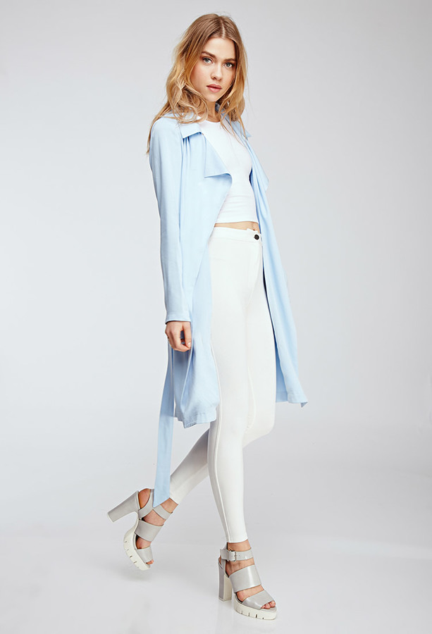 Forever 21 Draped Twill Woven Trench Coat | Where to buy ...