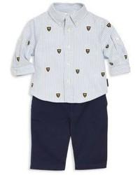 Ralph Lauren Babys Three Piece Schiffli Shirt Pants Belt Set
