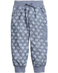 H&M Patterned Cotton Joggers Bluepatterned Kids