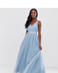 Asos Tall Asos Premium Tall Tulle Maxi Prom Dress With Ribbon Ties