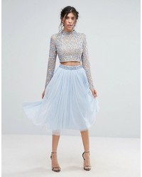 Maya Tulle Midi Skirt With Embellished Waist