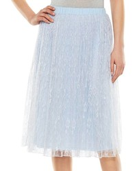 Women's White Lace Sleeveless Top, Light Blue Tulle Midi Skirt ...