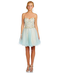 Glamour by terani couture bead corset 2 tone tulle dress medium 158482