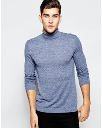 Asos Brand Roll Neck Sweater In Cotton