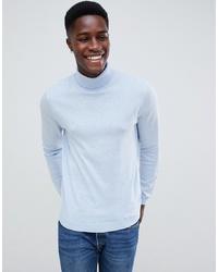 ASOS DESIGN Cotton Roll Neck Jumper In Pale Blue