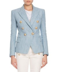 Balmain Double Breasted Tweed Blazer